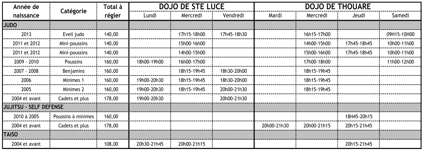 Grille horaire 2018-2019
